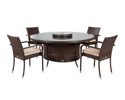 Roma 4 Rattan Garden Chairs, Large Round Table and Lazy Susan Set in Chocolate and Cream