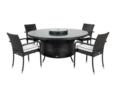 Roma 4 Rattan Garden Chairs, Large Round Table and Lazy Susan Set in Black and Vanilla