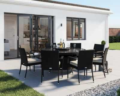 Roma 8 Rattan Garden Chairs, Large Round Table and Lazy Susan Set in Black and Vanilla