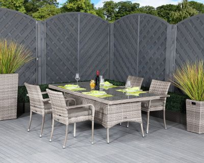 Roma 4 Stackable Chairs and Rectangular Dining Table in Grey