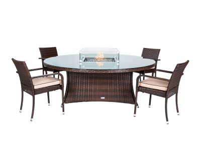 Roma 4 Stacking Chairs and Large Round Fire Pit Table Set in Chocolate & Cream
