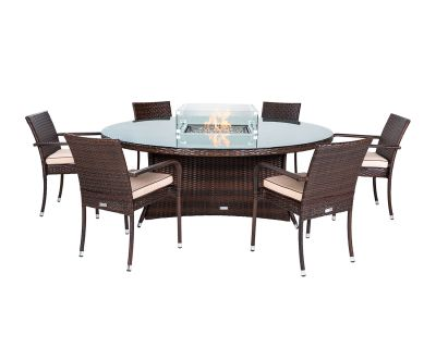 Roma 6 Stacking Chairs and Large Round Fire Pit Table Set in Chocolate & Cream