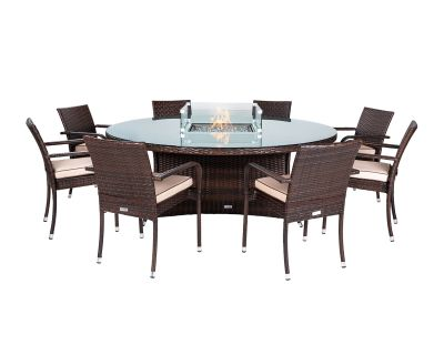 Roma 8 Stacking Chairs and Large Round Fire Pit Table Set in Chocolate & Cream