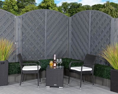 Roma Rattan Garden Bistro Square Set in Black and Vanilla
