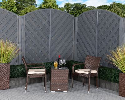 Roma Rattan Garden Bistro Square Set in Chocolate and Cream