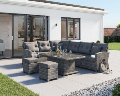 Sorrento Rattan Garden Adjustable Corner Dining Set in Grey