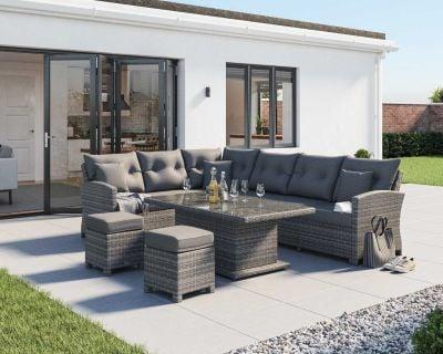 Sorrento Rattan Garden Adjustable Corner Dining Set in Grey