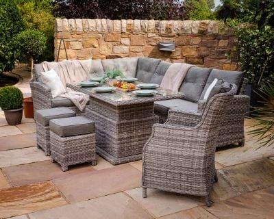 Sorrento Rattan Garden Adjustable Corner Dining Set with Chair in Grey