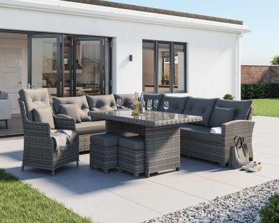 Sorrento Rattan Garden Corner Dining Set with Chair in Grey