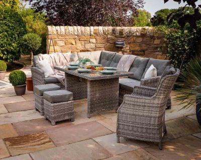 Sorrento Rattan Garden Corner Dining Set with Chair in Grey