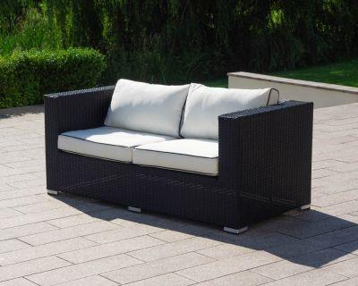 Ascot 2 Seat Rattan Garden Sofa in Black and Vanilla