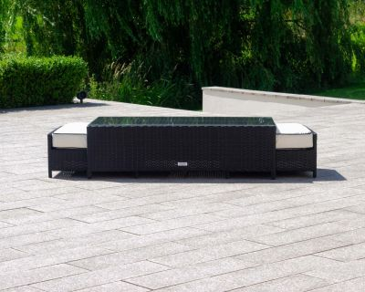 Ascot Rattan Garden Coffee Table with 2 Footstools in Black and Vanilla