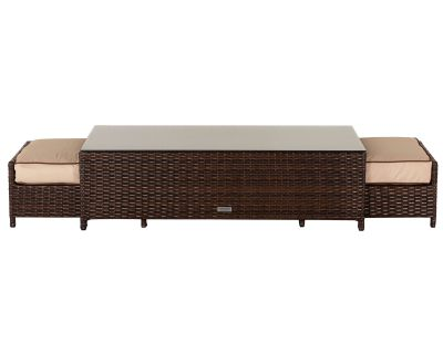 Ascot Rattan Garden Coffee Table with 2 Footstools in Chocolate Mix and Coffee Cream
