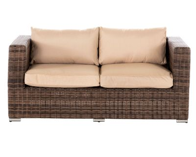 Ascot 2 Seat Rattan Garden Sofa in Truffle and Champagne