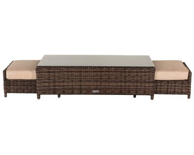 Ascot Rattan Garden Coffee Table with 2 Footstools in Truffle and Champagne