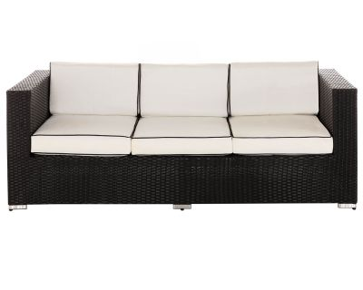 Ascot 3 Seat Rattan Garden Sofa in Black and Vanilla