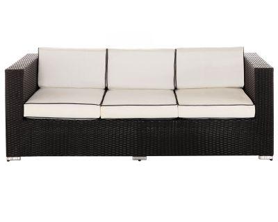 Ascot 3 Seat Rattan Garden Sofa in Black and Vanilla