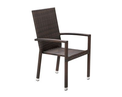 Rio Armed Stacking Rattan Garden Chair in Chocolate Mix