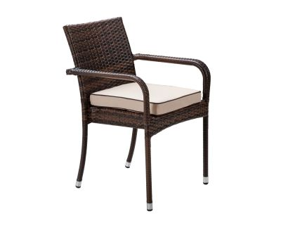 Roma Stacking Rattan Garden Chair in Chocolate Mix and Coffee Cream