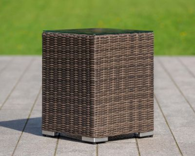 Tall Square Rattan Garden Side Table in Premium Truffle Brown