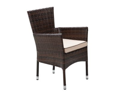 Cambridge Stackable Rattan Garden Chair in Chocolate Mix and Coffee Cream