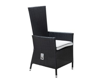 Cambridge Reclining Rattan Garden Chair in Black and Vanilla