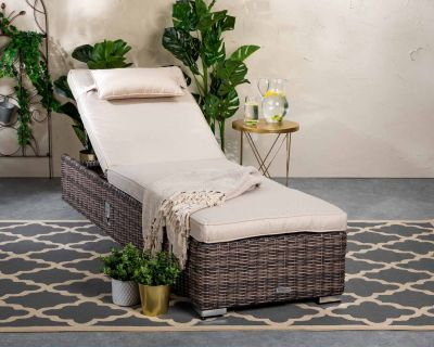 Miami Rattan Garden Sun Lounger in Truffle and Champagne