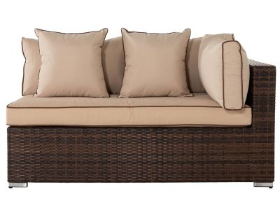 Monaco Left As You Sit Rattan Garden Sofa in Chocolate & Cream