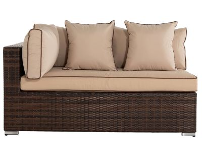 Monaco Rectangular Right As You Sit Rattan Garden Sofa in Chocolate & Cream