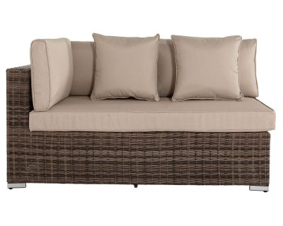 Monaco Rectangular Right As You Sit Rattan Garden Sofa in Premium Truffle Brown & Champagne - Premium Weave