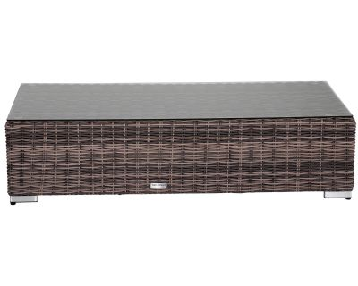 Monaco Rattan Garden Rectangular Ottoman / Coffee Table in Truffle & Champagne - Premium Weave Rattan