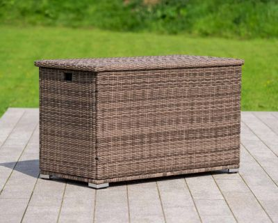 Outdoor Rattan Garden Storage Box in Premium Truffle Brown