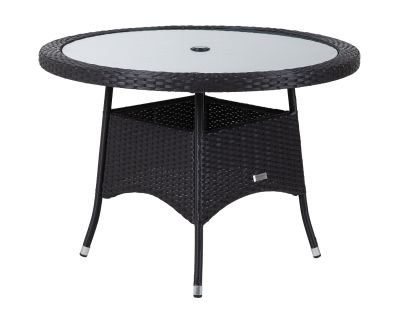 Small Round Rattan Garden Dining Table in Black