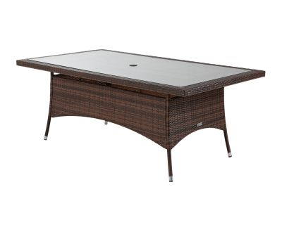 Large Rectangular Rattan Garden Dining Table in Chocolate Mix