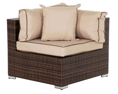 Florida Rattan Garden Corner Section in Chocolate Mix and Coffee Cream