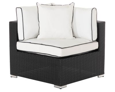 Florida Rattan Garden Corner Section in Black and Vanilla