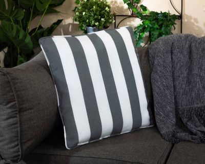 Premium Scatter Cushion in Thick Grey Stripe