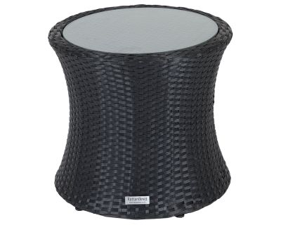 Tall Round Rattan Garden Side Table in Black