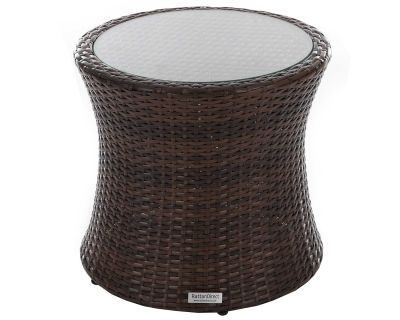 Tall Round Rattan Garden Side Table in Chocolate Mix