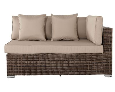 Monaco Rectangular Left As You Sit Rattan Garden Sofa in Truffle & Champagne - Premium Weave