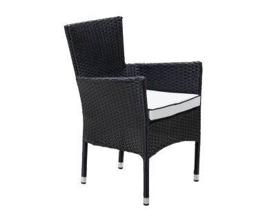 Cambridge Stackable Rattan Garden Chair in Black and Vanilla