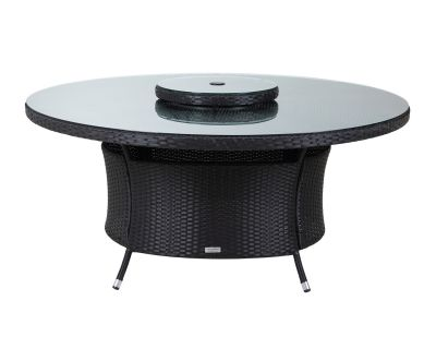 Large Round Rattan Garden Dining Table with Lazy Susan in Black