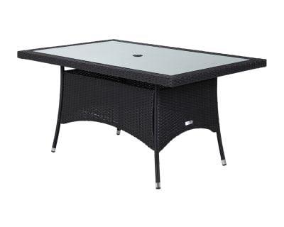 Small Rectangular Rattan Garden Dining Table in Black