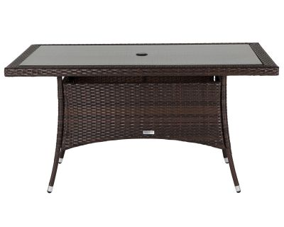 Small Rectangular Rattan Garden Dining Table in Chocolate Mix