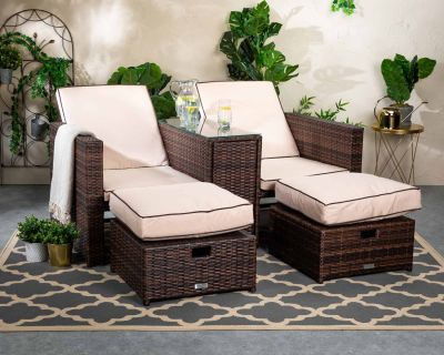 Paris Sun Lounger Set in Chocolate and Cream
