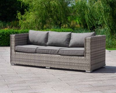 Ascot 3 Seater Rattan Garden Sofa in Grey