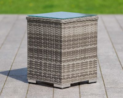 Tall Square Rattan Garden Side Table in Grey