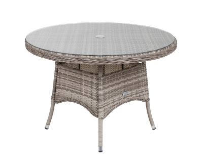 Small Round Rattan Garden Dining Table in Grey