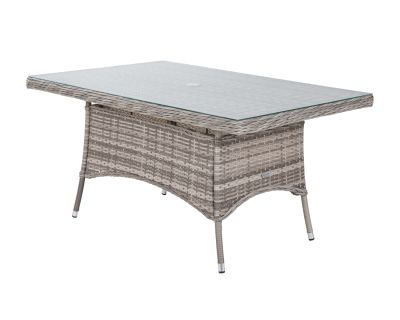 Small Rectangular Rattan Garden Dining Table in Grey