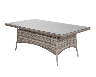 Large Rectangular Rattan Garden Dining Table in Grey